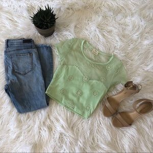 Sea foam green crop top. Embroidered flowers 🌸
